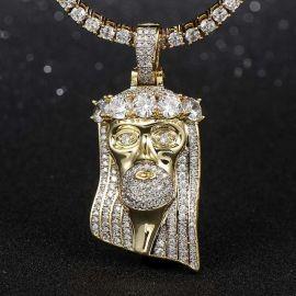 Colgante de Jesús de rey bigote y pelo con diamantes