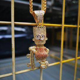 Colgante de Skateboard Boy con Diamantes de Oro