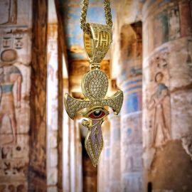 Colgante Cruz de Ankh de Oro de ojo de Horus