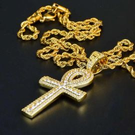 Colgante Cruz de Ankh de Doble Diamante de Oro
