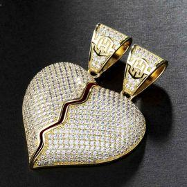 2pc Colgante de Corazón Roto de Oro