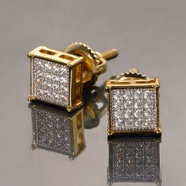 Pendientes con pavé de diamantes cuadrados-6*6mm