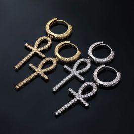 Pendientes Colgantes con Diamantes, Diseño Cruz de Ankh