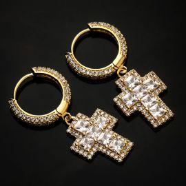 Pendientes Cruz de Corte Princesa con Diamantes de Oro de 18K