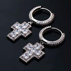 Pendientes Cruz de Corte Princesa con Diamantes de Plata de 18K
