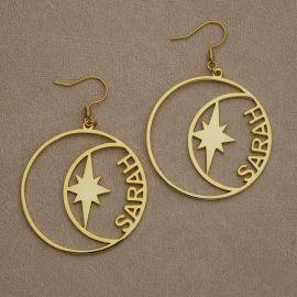 Pendientes de aro personalizados con el nombre en forma de estrella y luna