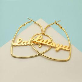 Pendientes de aro personalizados con el nombre en forma de corazón