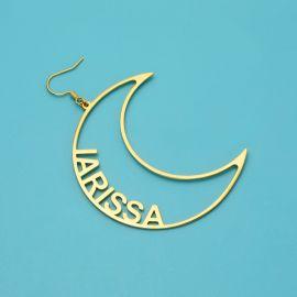 Pendientes de aro personalizados con nombre asimétrico de estrella y luna de 2,4