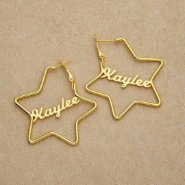 """Pendientes de aro personalizados con nombre en forma de estrella de 2,2"""""""