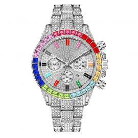 Reloj de acero con esfera arcoíris de plata con diamantes