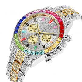 Reloj de acero con esfera arcoíris de dos tonos con diamantes