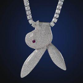 Colgante con Cabeza de Conejito al Revés con Diamantes de Plata