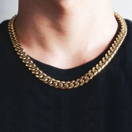Cadena Cubana de Acero Inoxidable de Oro de 10mm