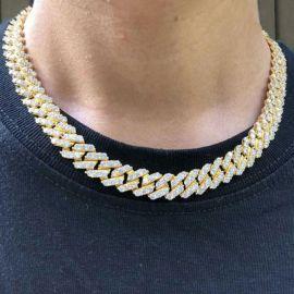 14mm Cadena Cubana de Miami con Diamantes de Oro de 18K