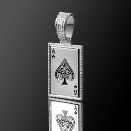 Colgante de Carta de As de Espadas de Plata