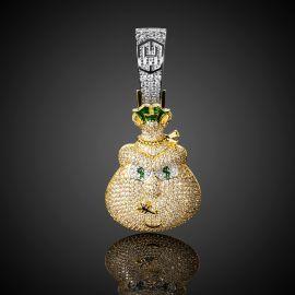Colgante de monedero de oro con diamantes
