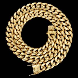 18mm Cadena Cubana de Miami de Acero Inoxidable de Oro