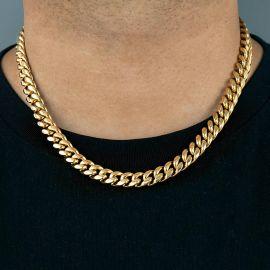 12mm Cadena Cubana de Acero Inoxidable de Oro