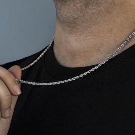 3mm Cadena de Cuerda con Acabado de Plata de 18K