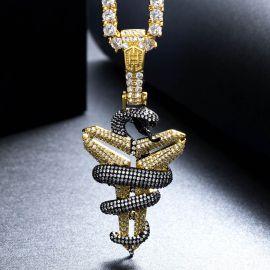 Colgante de Oro con Diamantes y Serpiente Mamba Negra