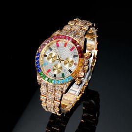 Reloj de acero con esfera arcoíris de oro con diamantes