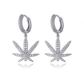 Pendientes Colgantes de Hoja con Diamantes