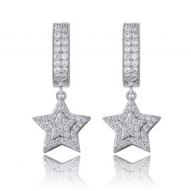 Pendientes Colgantes de Estrlla Pentágona con Diamantes