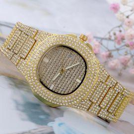 Reloj de hombre de moda cuadrado redondo pavé de oro con diamantes