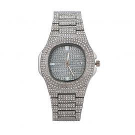 Reloj de hombre de moda cuadrado redondo pavé de plata con diamantes