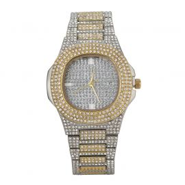 Reloj de hombre de moda cuadrado redondeado pavimentado de dos tonos con diamantes