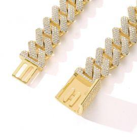 Pulsera Cubana con Cierre de Caja de Oro con Diamantes de 20mm