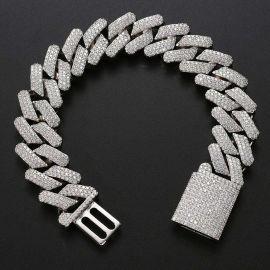 Pulsera Cubana con Cierre de Caja de Plata con Diamantes de 20mm
