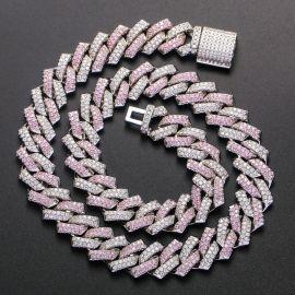Cadena de Eslabones Cubanos de Plata con Piedras Rosas y Blancas de 14 mm