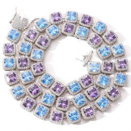 Collar de Tenis de Piedras Azules y Violetas de Plata