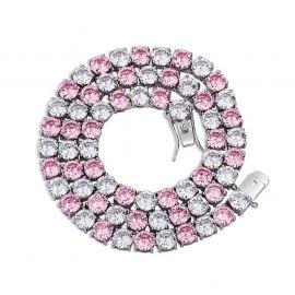 Cadena de Tenis con Piedras Rosas y Blancas de 5mm de Plata