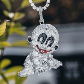 Colgante de Bebé de Plata con Diamantes