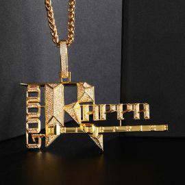 Colgante Records Popular de Oro con Diamantes