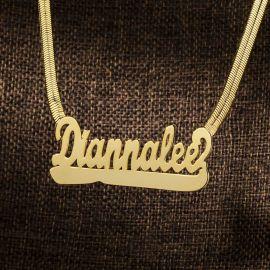 Colgante de Letras de Nombre Personalizado con Cadena de Espiga de Oro
