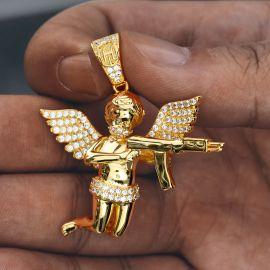Colgante del Ángel de la Muerte con Diamantes