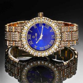 Reloj de Hombre de Esfera Azul con Números Romanos de Oro con Diamantes