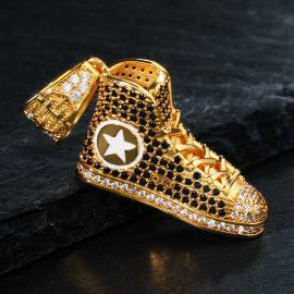 Colgante de Zapatos de Moda de Oro con Diamantes