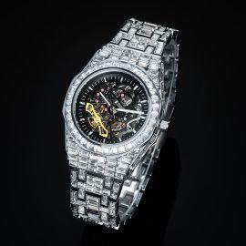 Reloj Mecánico para Hombre con Piedras Baguette de Plata