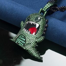 Colgante de Dinosaurio Enojado de Oro Negro con Diamantes