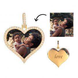 Colgante de Foto con Forma de Corazón de Diamantes Personalizados de Oro