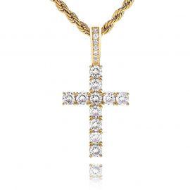 Colgante de Cruz de Oro con Diamantes para Mujeres