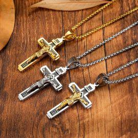Colgante Cruz de Jesús de acero titanio