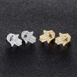 Pendientes de Botón de Hamsa de Plata con Diamantes