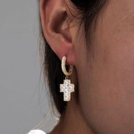 Pendiente Colgante de Cruz de Corte Princesa con Diamantes