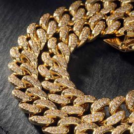 13mm Cadena de Eslabones Cubanos con Diamantes de PVD Chapado en Oro de 18K