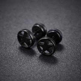 Pendientes de Botón de Estrlla Pentágona de Acero de Titanio